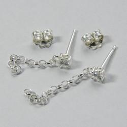 Base orecchino con zircone bianco Ag 925