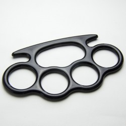 """Manico 4 anelli plastica """"Nero"""""""