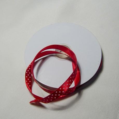 "Doppio raso 10mm ""Rosso pois Bianco"""
