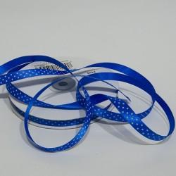 """Doppio raso 10mm """"Blu pois Bianco"""""""