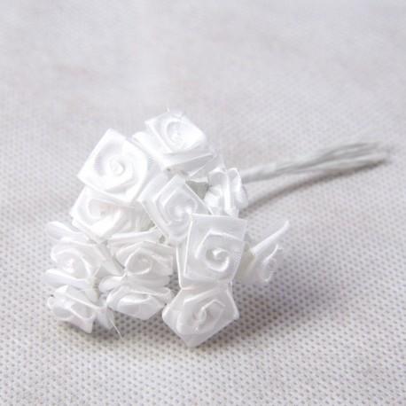 Roselline satinate bianco 15mm