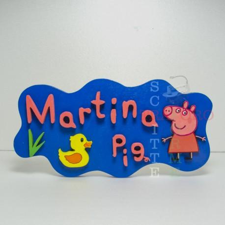 Targhetta con Nome e Peppa Pig