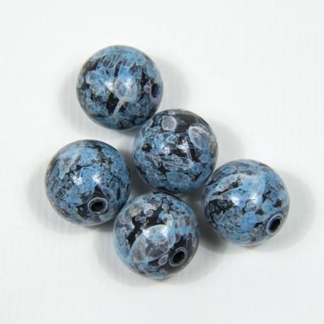 """Perla tonda in resina """"Blu marmorizzato"""""""