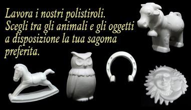 Animali e oggetti di polistirolo